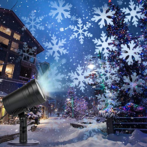 Christmas Projector Lights, Snowfall Snowflakes Christmas Lights, Christmas Projection Lights Outdoor Patio Garden Decorative LED Projector Light for Christmas Xmas Holiday Party Birthday Stage