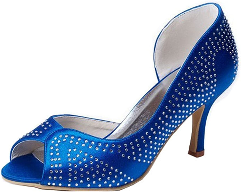 Minishion GYMZ659 Womens Crystals Satin Formal Party Bridal Wedding Sandals