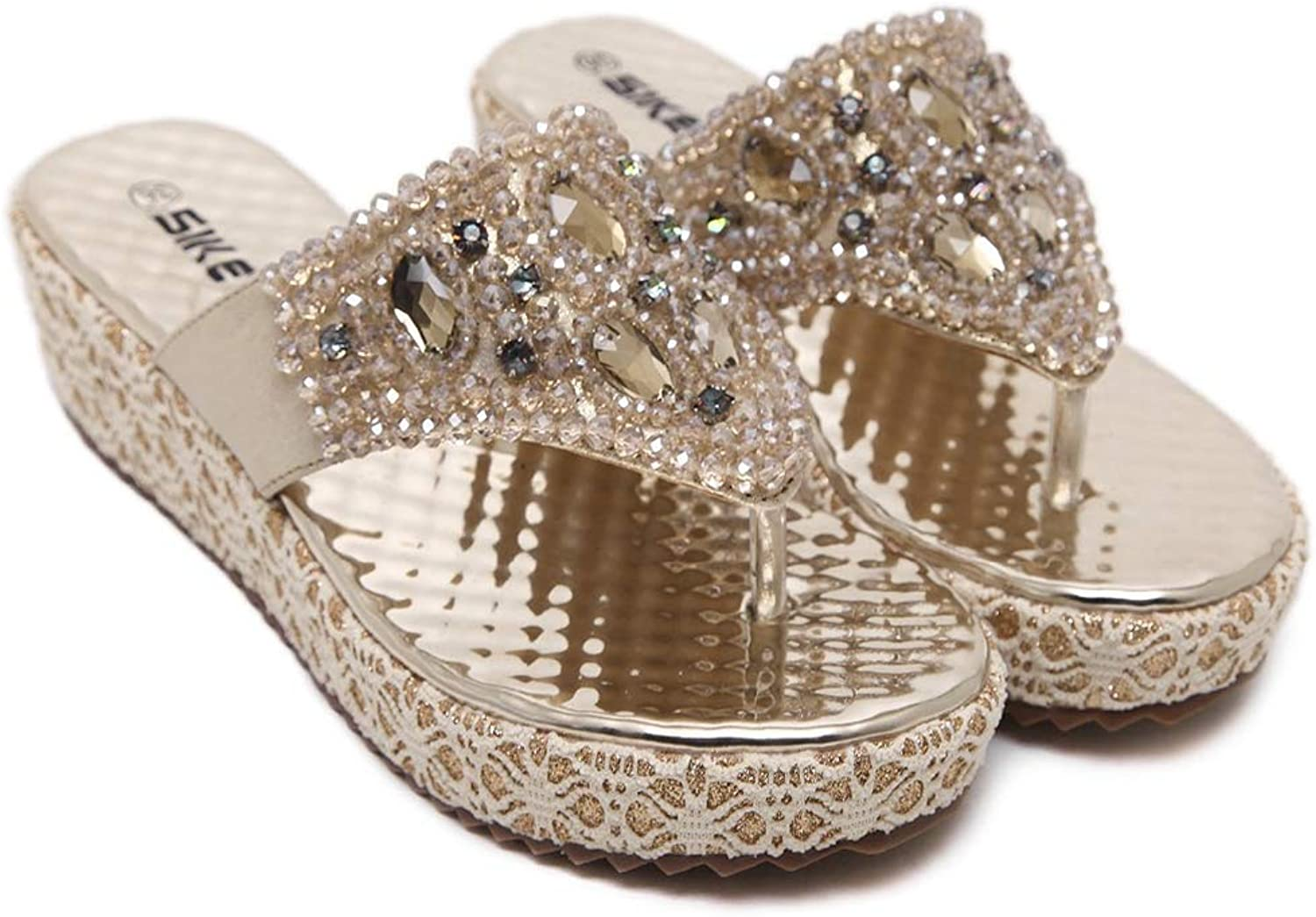 T-JULY Women Summer Sandals Fashion Bead Rhinestone Leisure Flip Flops Beach shoes Slippers in gold or Silver