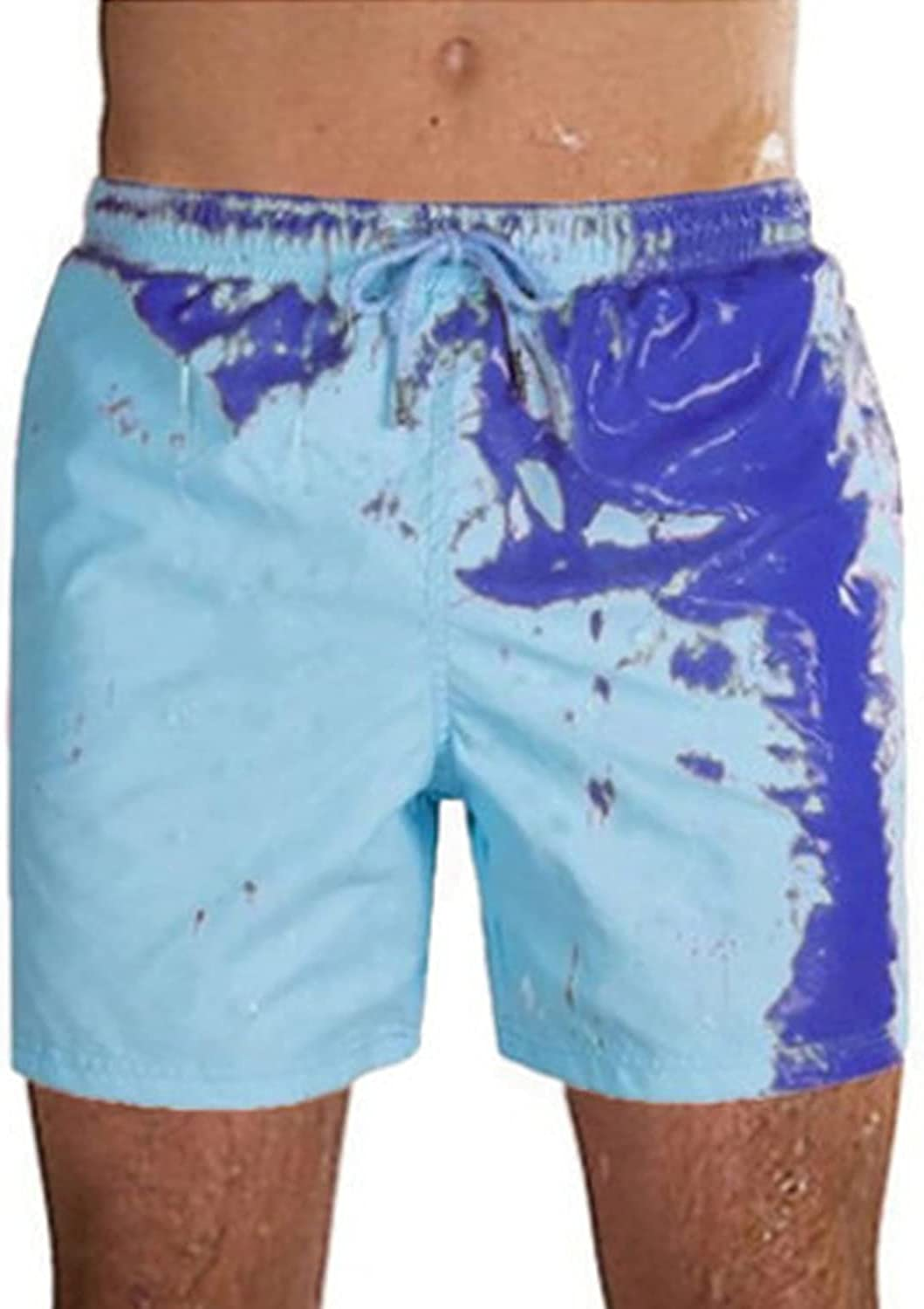 Men Swimming Color Changing Swim Trunks Summer Cool Quick Dry Board Beach Short Casual Draw-String Jogger Shorts (Navy Blue,Large)