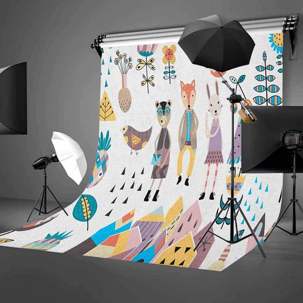 8x12 FT Monkey Vinyl Photography Background Backdrops,Funny Hipster Animal Chimpanzee Character Portrait with Colorful Geometric Glasses Background Newborn Baby Portrait Photo Studio Photobooth Props