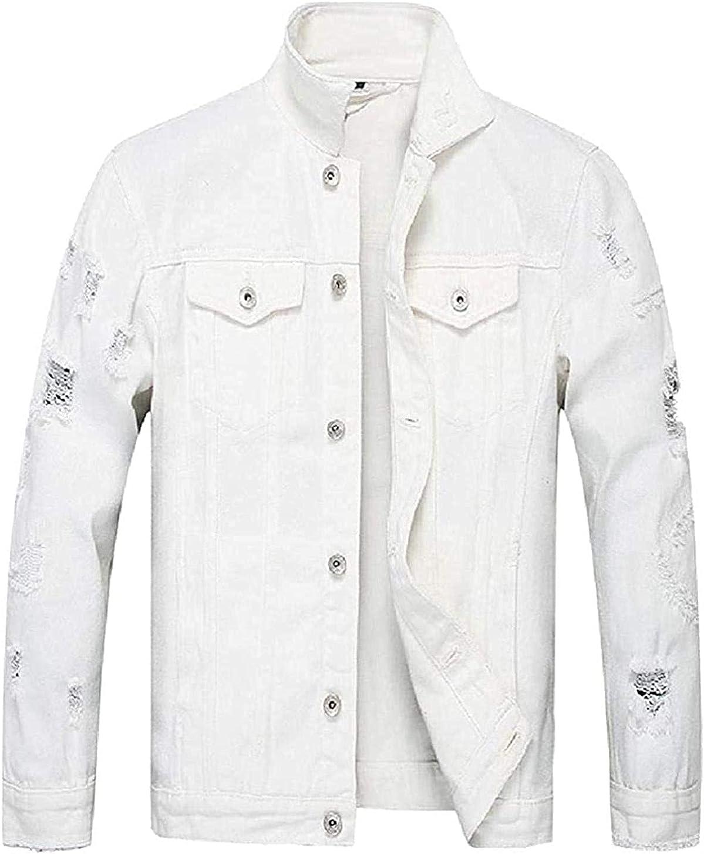Men Distressed Fashion supreme Slim Solid Color Cotton Denim Jac Trucker famous