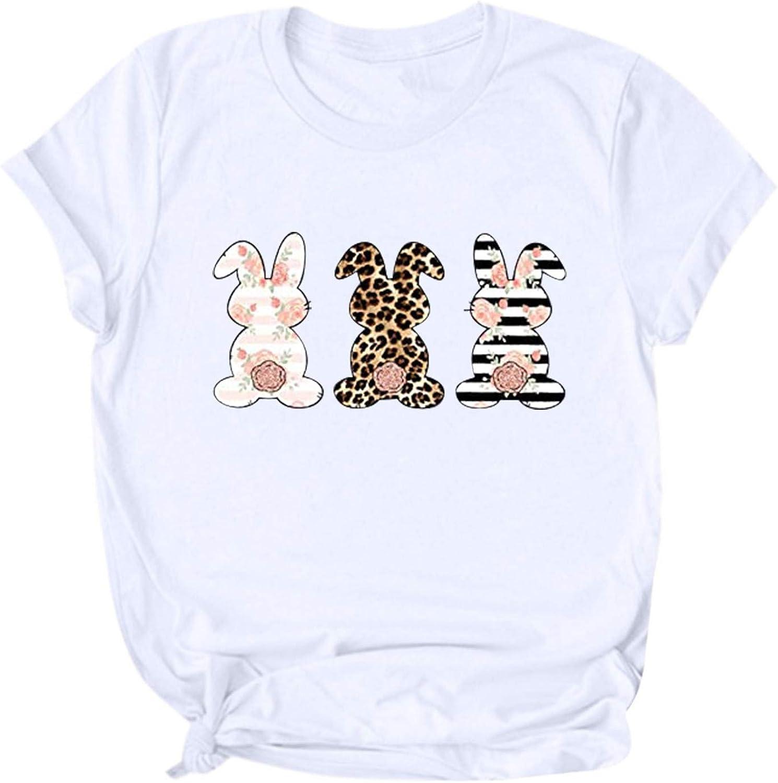 Hotkey Many popular brands Financial sales sale Easter Women's Short Sleeve T-Shirts Tops Crewneck Cute