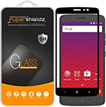 (2 Pack) Supershieldz for ZTE Max XL Tempered Glass Screen Protector, (Full Screen Coverage) Anti Scratch, Bubble Free (Black)