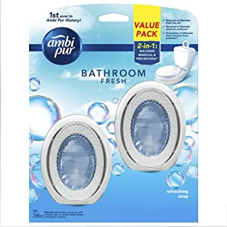 Ambi Pur Bathroom Fresh Air Freshener, Refreshing Soap, 6ml (Pack of 2)