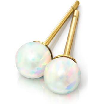 Round Created Opal Stud Earrings   14k Gold Plated Stainless Steel Hypoallergenic Earrings for Women   Dainty Gold Earrings Classic Fire Opal Earrings Stud Earrings for Women