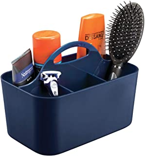 mDesign Plastic Portable Storage Organizer Caddy Tote - Divided Basket Bin with Handle for Bathroom, Shower, Dorm Room - Holds Hand Soap, Body Wash, Shampoo, Conditioner, Lotion - Small - Navy Blue