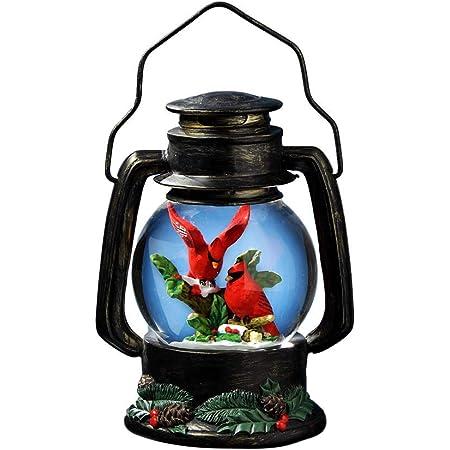 The San Francisco Music Box Company Cardinals Antique Lantern Snow Globe