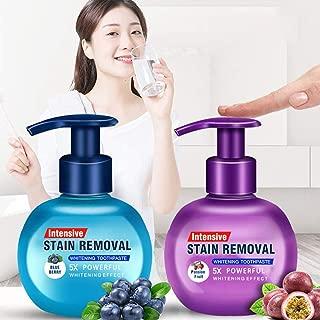 Maikoa Baking Soda Whitening Toothpaste, Elaco Stain Removal Whitening Toothpaste Strong Cleaning Power Natural Stain Remover Fluoride-Free Toothpaste(Blueberry+Passion Fruit)
