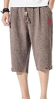 Men Summer Drawstring Linen Short Loose Harem Capri Pants