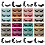 JIMIRE False Eyelashes 24 Pack 8 Styles Mixed Fluffy Natural Fake Lashes Bulk 3D Faux Mink Wispy Lashes Pack with 24 Portable Eyelash Boxes Wholesale Fake Eyelashes