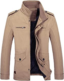 XINHEO Mens Stand Collar Open Work Travel Safari Venture Jacket