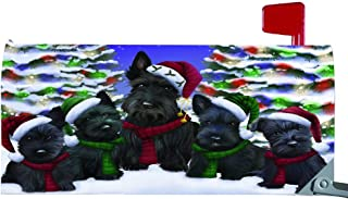 Magnetic Mailbox Cover Scottish Terriers Dog Christmas Family Portrait in Holiday Scenic Background MBC48251