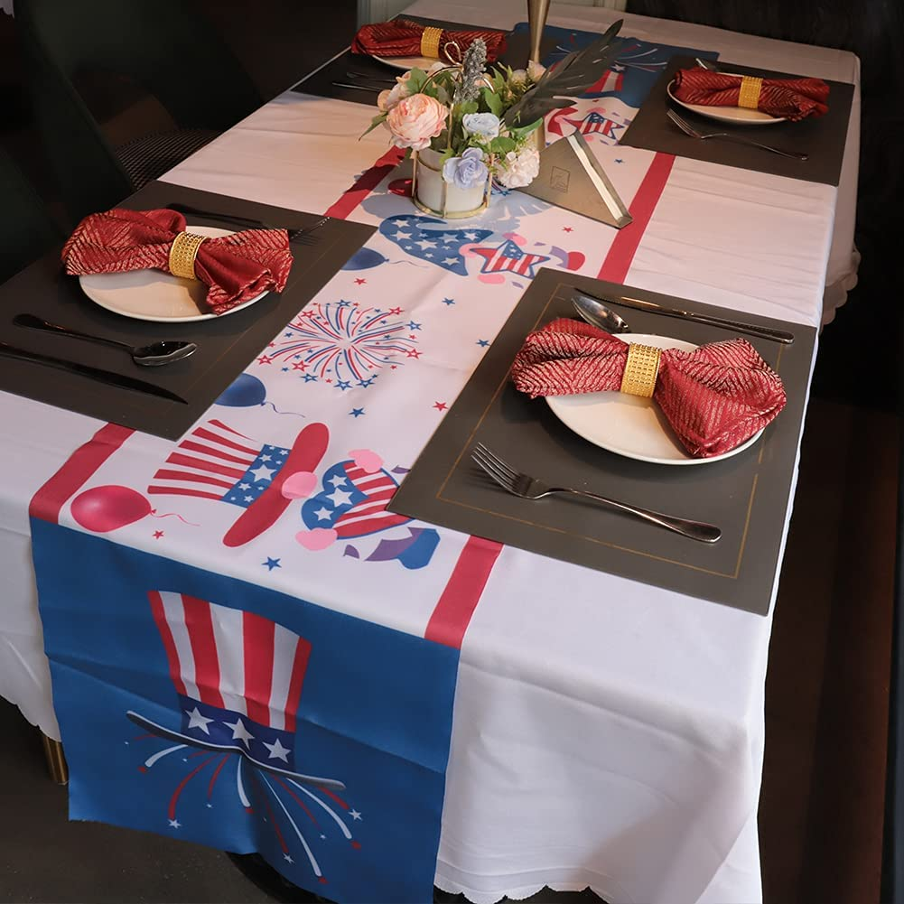 YUUFUU Independence Day Table Runner Dresser Scarves 4th of July Independence Gnomes Rectangle Tablecloth Patriotic Decorations for Memorial Day,Labor Day,Veterans Day Decor Supplies