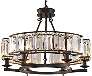 "Yue Jia Luxury Contemporary Round Island Crystal Chandelier Flush Mount Pendant Light Lighting Fixture for Dining Room W25.6"" x H19.7"""