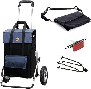 Andersen shoppingvagn Royal XXL med pneumatiska däck med cykelkärra koppling och 43 liters väska vektor svart/blå med kylf...