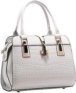 女の人レザーハンドバッグPUハンドバッグ バッグトップハンドルバッグトートバッグ,白