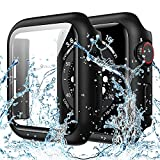 Goton Waterproof Case Compatible with Apple Watch 44mm SE Series 6 5 4 with Tempered Glass Screen Protector, iWatch Full Protective Hard PC Bumper Case Face Cover for Men Women (44 mm,Black)
