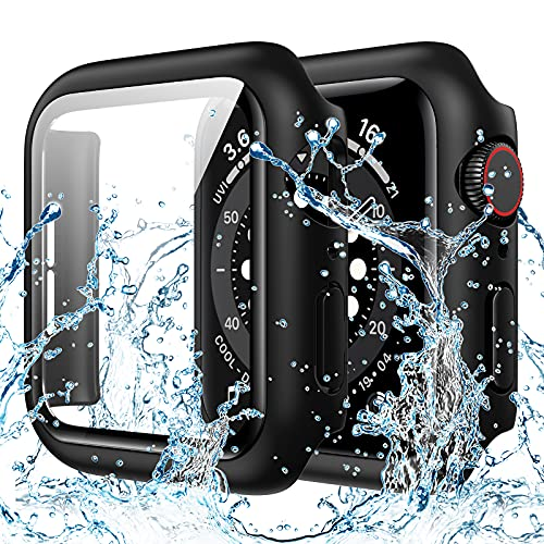 Goton Waterproof Case Compatible with Apple Watch 40mm SE Series 6 5 4 with Tempered Glass Screen Protector, iWatch Full Protective Hard PC Bumper Case Face Cover for Men Women (40 mm,Black)