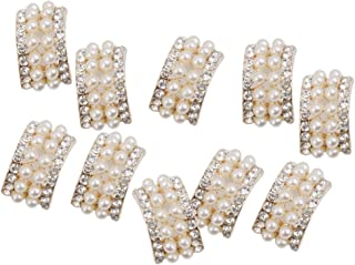 F Fityle 10x Cristal Strass Broche De Pérolas Cabelo Enfeite Artesanato De Casamento Diy