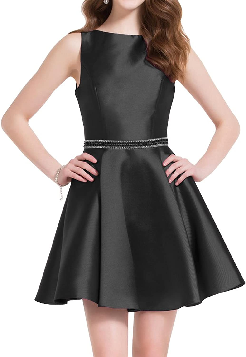 Beaded Homecoming Dress Short High Neck Backless ALine 2018 Cocktail Gown Satin