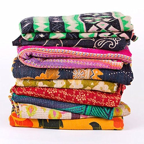 Vedant Designs Wholesale Lot of 5 Vintage Handmade Kantha Quilts,Reversible Throws