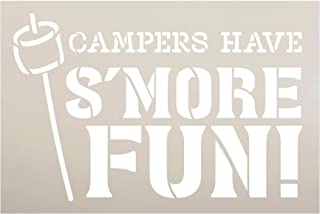 Campers Have S'More Fun Stencil with Marshmallow by StudioR12 | DIY Summer Camping Home Decor | Outdoor Adventure Word Art...