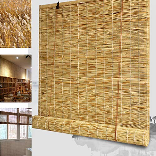 Blackout Curtain- Lifting Bamboo Blinds Indoor Retro Grass Blinds Light-transmitting Opaque Sun Blinds, Suitable for Balcony/Bedroom