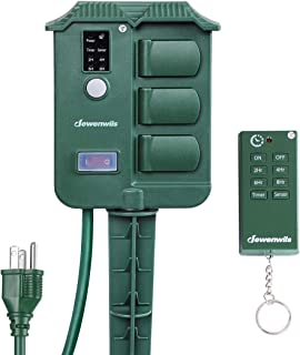 DEWENWILS Outdoor Power Stake Timer with Photocell, Wireless Remote Control, 6 Waterproof..