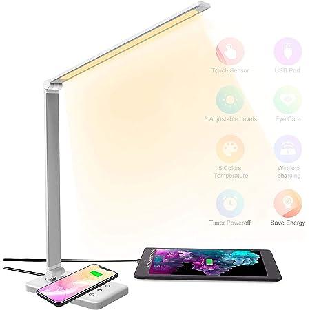 HyAdierTech Lampe de Bureau LED avec Chargeur Sans Fil, Lampe de Table Dimmable 10 Niveaux 5 Modes, Lampe de Chevet Tactile Réglable Flexible, Port USB, Fonction Minuterie pour Lecture, Travail, Étude