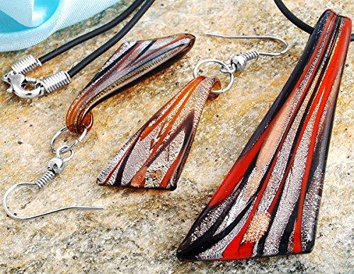 Skyllc Set di 1 Coltello a Forma di Collana del Pendente Perle Brown Lampwork con Orecchini Set
