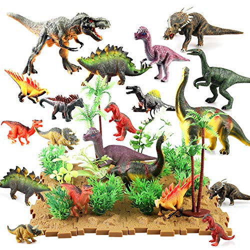 BeebeeRun Dinosaur Figures Dinosaur Toys Realistic Educational Playset Cake Topper with Tree Plant Floret Grass Bottom Plate for Kids 44 Pieces