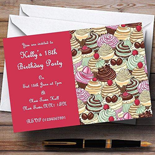 10 x Uitnodigingen Heldere Roze Chocolade Cupcakes Vintage Thee Gepersonaliseerde Partij Nodigt elke Wording
