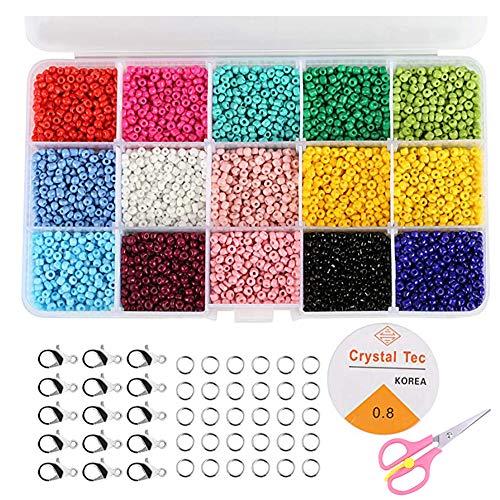 Flysee Cuentas de Colores 3mm Mini Cuentas y Abalorios Cristal para DIY Pulseras Collares Bisutería (15 Colores 7500 piezas)