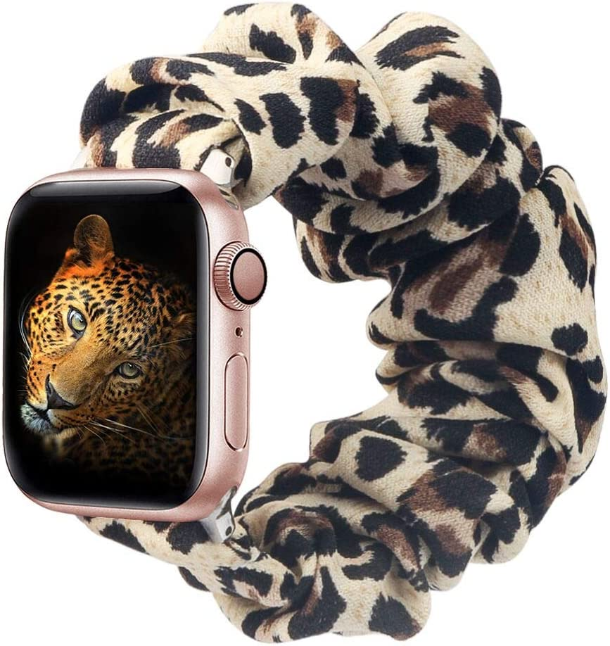 BMBMPT Scrunchie Elastic Watch Band Compatible with Apple Watch Band 38mm 40mm 42mm 44mm Cloth Soft Pattern Printed Fabric Wristband for iWatch Series 5,4,3,2,1 (A-Leopard, 38mm/40mm Small size)