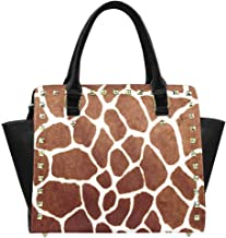 InterestPrint Women's Geometric Watercolor Chevron Rivet Shoulder Handbag Shoulder Bags