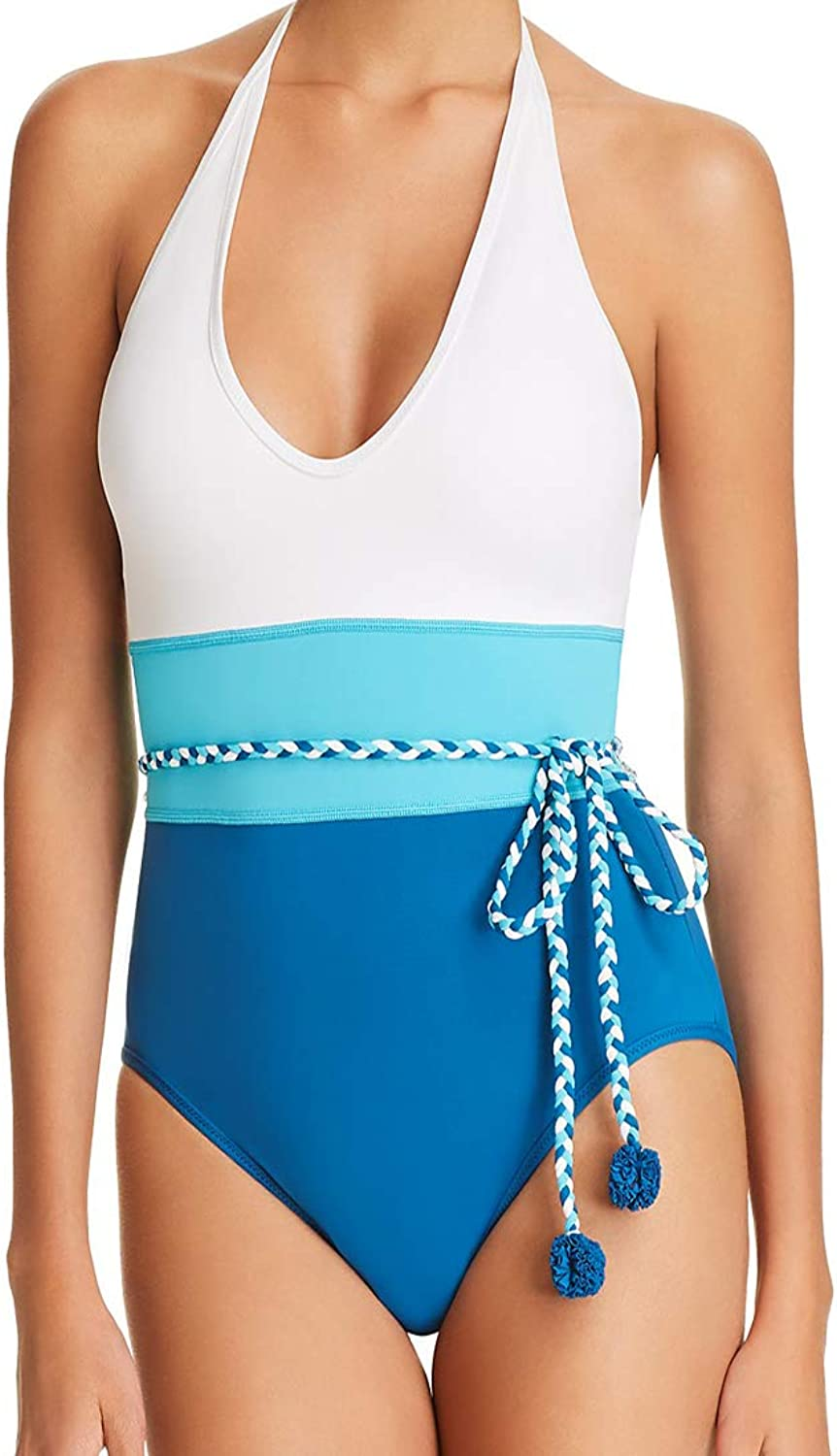 Vince Camuto One Piece Swimsuit Plunge Halter colorblock Belted Tassel Maillot White bluee 4
