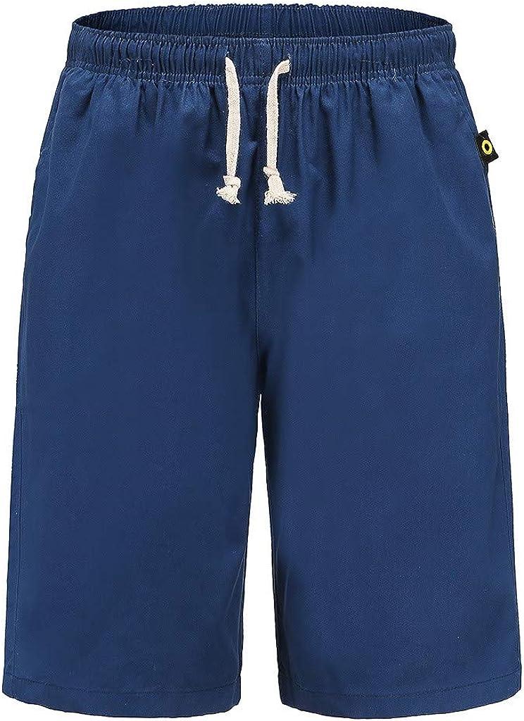 WUAI-Men Casual Shorts Stretch Elastic Waist Summer Beach Shorts Drawstring Outdoor Comfy Workout Shorts Plus Size