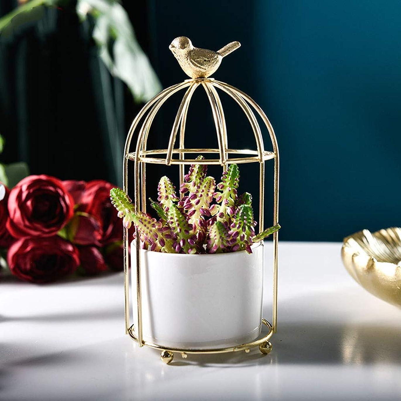 作ります遺跡復讐花瓶 植木鉢 陶器鉢 植物鉢 花鉢 Fukuka サボテン鉢 ミニ多肉植木鉢 おしゃれ シンプルなデザイン 置物 インテリア鳥籠型 (金色)