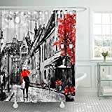 Asdecmoly Bathroom Clear Shower Curtains Oil Painting on Canvas European City Street View of Artwork People Under Red Umbrella Tree 66X72Inch