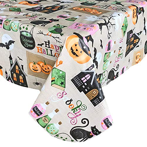 Newbridge Happy Halloween Witches Brew Vinyl Flannel Backed Tablecloth - Ghosts, Bats, Witches Spells and Haunted House Halloween Tablecloth, Easy Care Wipe Clean, 60 in x 102 in Oblong/Rectangle