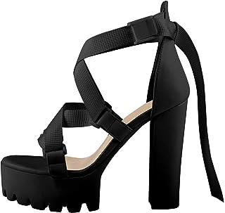 Women's Open Toe Ankle Strap Platform Block Buckle Criss Cross Strap Heeled Sandal