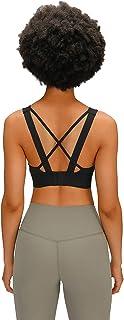 Adjustable Sports Bra Women, Breathable Comfy Back Cross Yoga Gym Bras,Black,6