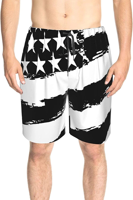 JINJUELS Men's Swim Shorts Black American Flags Beach Board Shorts Fast Dry Fashion Surf Beach Shorts with Mesh Lining