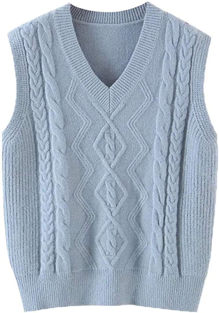 Women with Ribbed Trim Loose Cable-Knit Vest Sweater Vintage V Neck Sleeveless Pullovers Chic Tops
