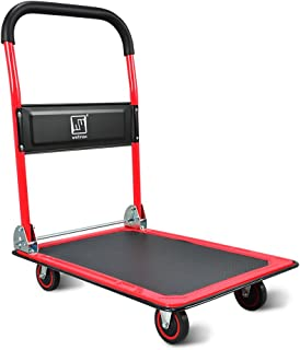 Push Cart Dolly by Wellmax, Moving Platform Hand Truck, Foldable for Easy Storage and 360 Degree Swivel Wheels with 660lb ...
