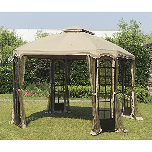 Original Replacement Canopy for Terrace Gazebo (10X12 Ft) L-GZ454PST-C Sold at Sears&Kmart, Sesame - Sunjoy 110109206