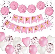 KUUBIA Kit Decoración Fiesta Cumpleaños Niña - Pancarta Happy Birthday, Pompones de Papel, Globos, Globos Confeti, Serpentinas - Conjunto Rosa y Blanco para Celebración de Niña - Pack 43 Piezas