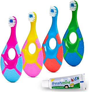 ECOVONA- Baby Toothbrush for Infants & Toddlers 0-2 Years Old (4 Pack)   Bonus Fluoride Free Toothpaste Included   Teething Handle with Finger Hole & Extra Soft Bristles   Flexible BPA Free Plastic
