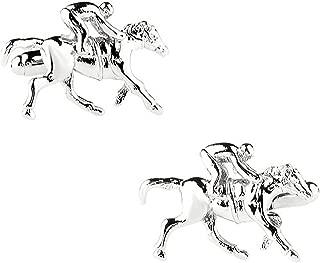 3D Silver Horse Racing Cufflinks in a Free Luxury Presentation Box. Novelty Horse Animal Sport Theme Jewellery
